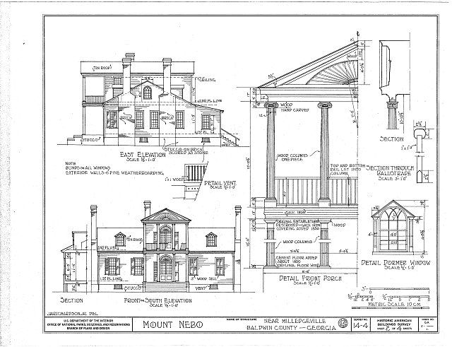 Habs Ga 5 1 Sheet 2 Of 4 Mount Nebo House Route 22 Milledgeville Baldwin County Ga Route 22 Baldwin County Nebo