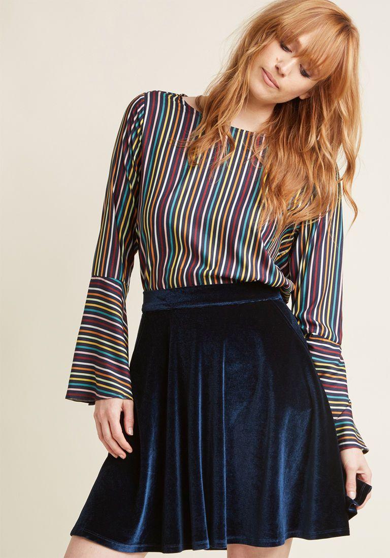 60557d775d0 Velvet Skater Skirt with Pockets in 2X - Full Skirt by ModCloth - Plus  Sizes Available