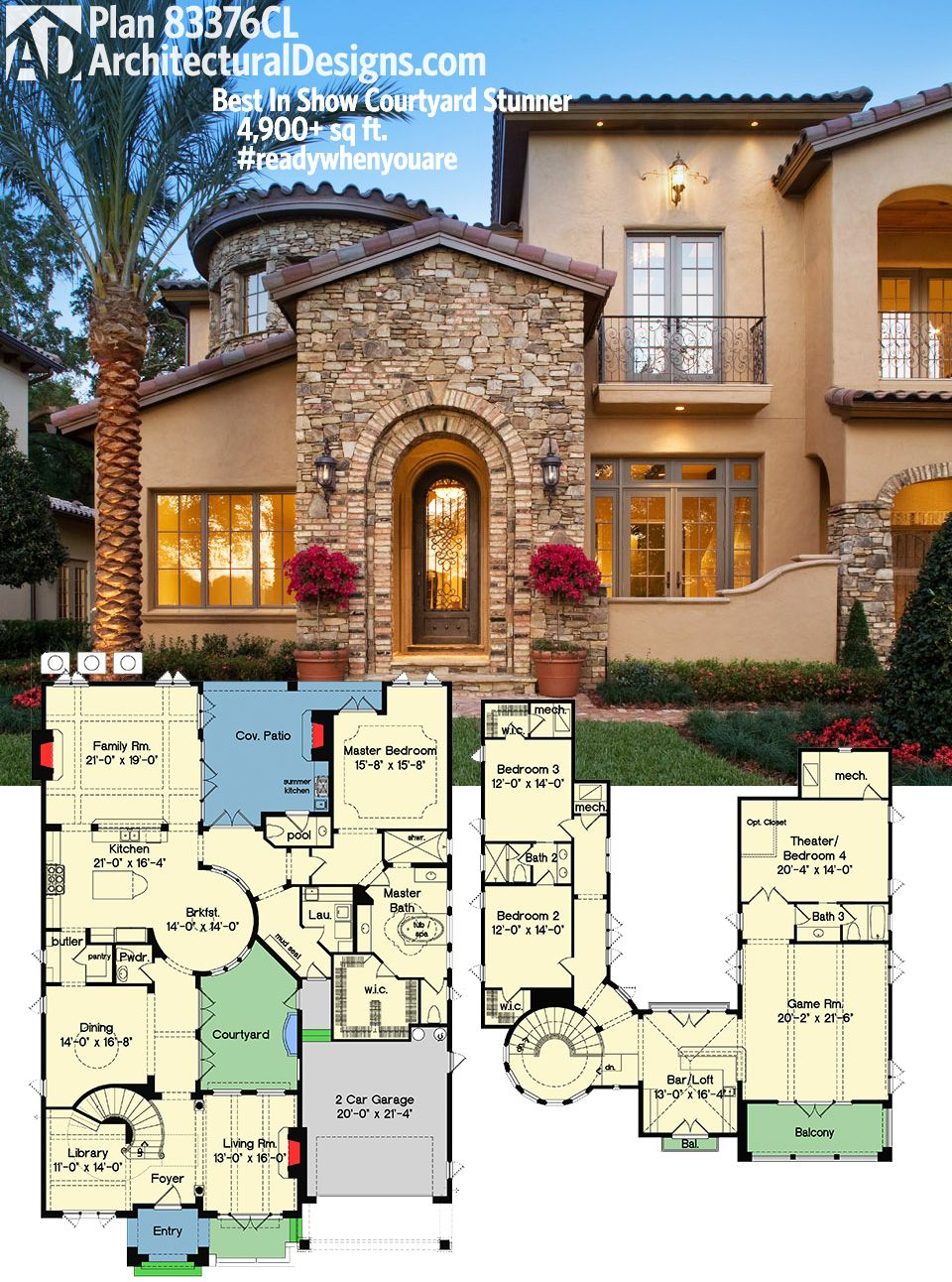 Plan 83376cl Best In Show Courtyard Stunner Luxury House Plans Dream House Plans House Plans