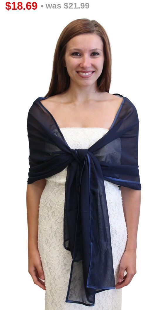 7-Day Sale Bridal shawl wrap, Navy Blue Chiffon Shawl ...