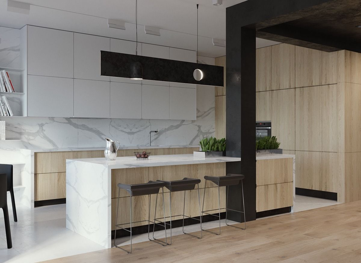 Homedesigning Minimalist Interior Design Using White Wood And Black With Green Plant A Minimalist Interior Minimalist Interior Design Luxury Kitchen Design