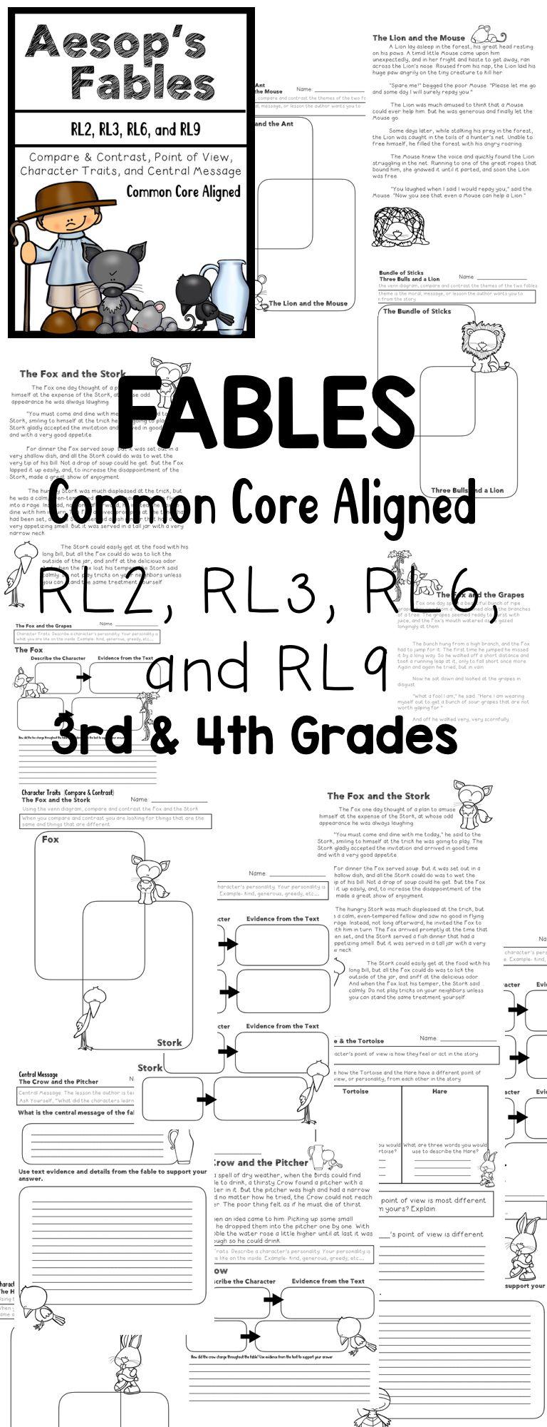 Fables {Common Core Aligned} Compare & Contrast, Central