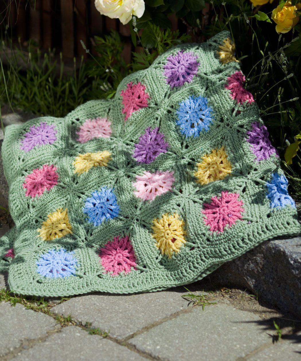 Crochet flower field crochet pattern red heart tejidos - Mantas de ganchillo faciles ...