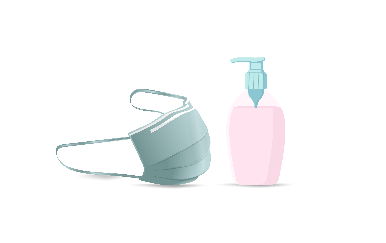 Hand Sanitizer Pump And Medical Mask Graphic By Ngabeivector Creative Fabrica Hand Sanitizer Medical Masks Sanitizer