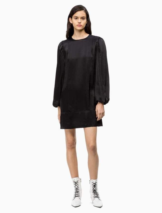 Satin Puff-Sleeve Mini Dress | Calvin Klein #kleidersale