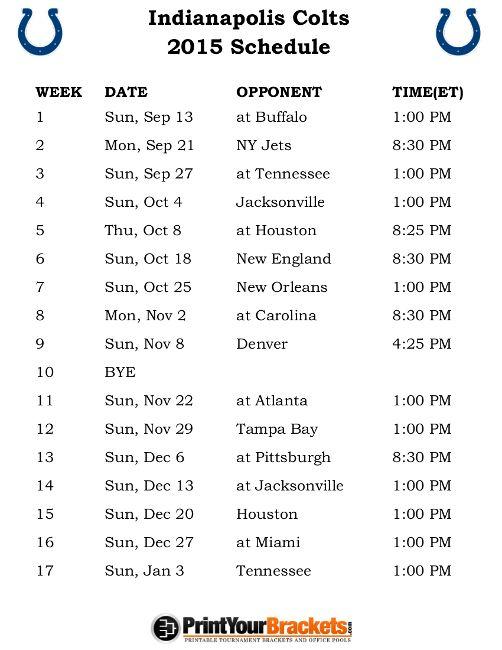 885e1bcaf9b Printable Indianapolis Colts Schedule - 2015 Football Season