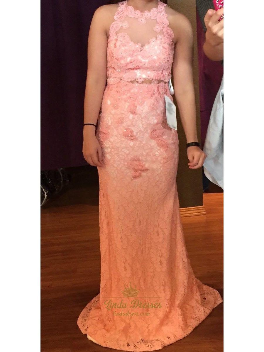 Floor length sleeveless sheer back two piece lace mermaid prom dress