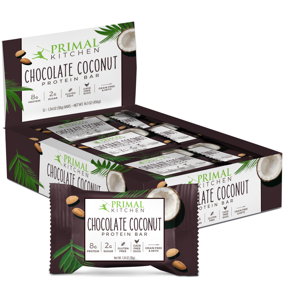Chocolate Coconut Protein Bars 12 Count Primal Kitchen Chocolate Coconut Coconut Protein Protein Bars