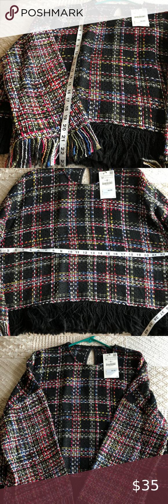Zara Sweater Made in Turkey from 37% Acrylic, 56% Cotton, 7%, Polyester❣️ super warm.. Just beautiful ☘️ Zara Sweaters Shrugs & Ponchos #shrugsweater