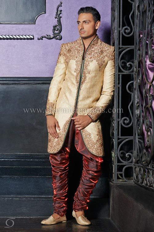Mens Suits - Antique gold brocade silk sherwani with green pipin ...