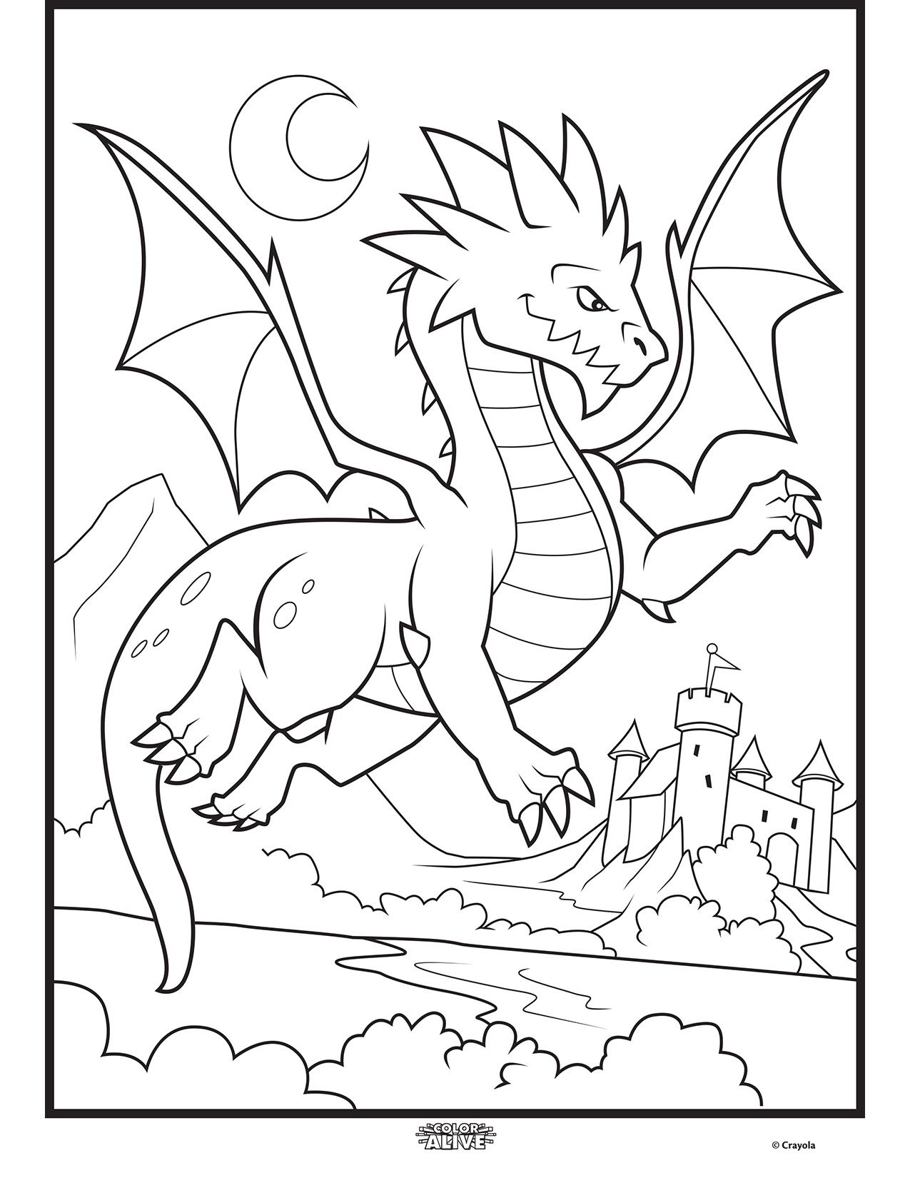 Color Alive Mythical Creatures Dragon Coloring Page Crayola Com Dragon Coloring Page Free Coloring Pages Coloring Pages