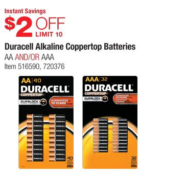 December Warehouse Coupon Offers Duracell Batteries Diy 10 Things