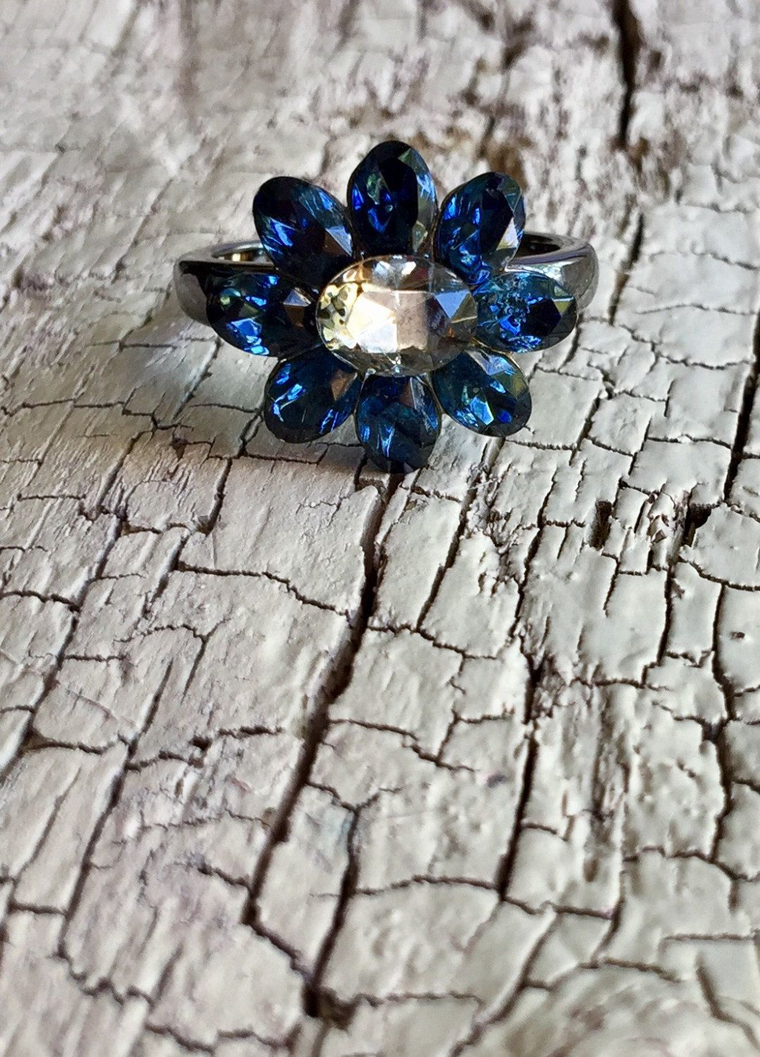 Vintage Flower Ring Created Sapphire & Smoky Quartz