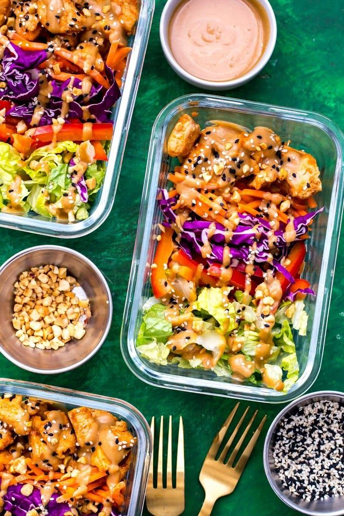 Thai Chicken Meal Prep Bowls with Peanut Sauce images