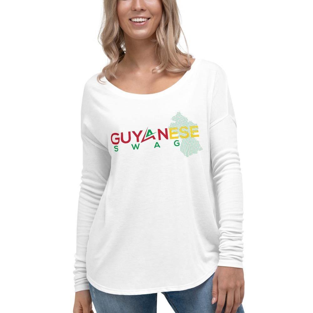 Official Guyanese Swag Guyana Map Ladies' Long Sleeve Tee - White / L