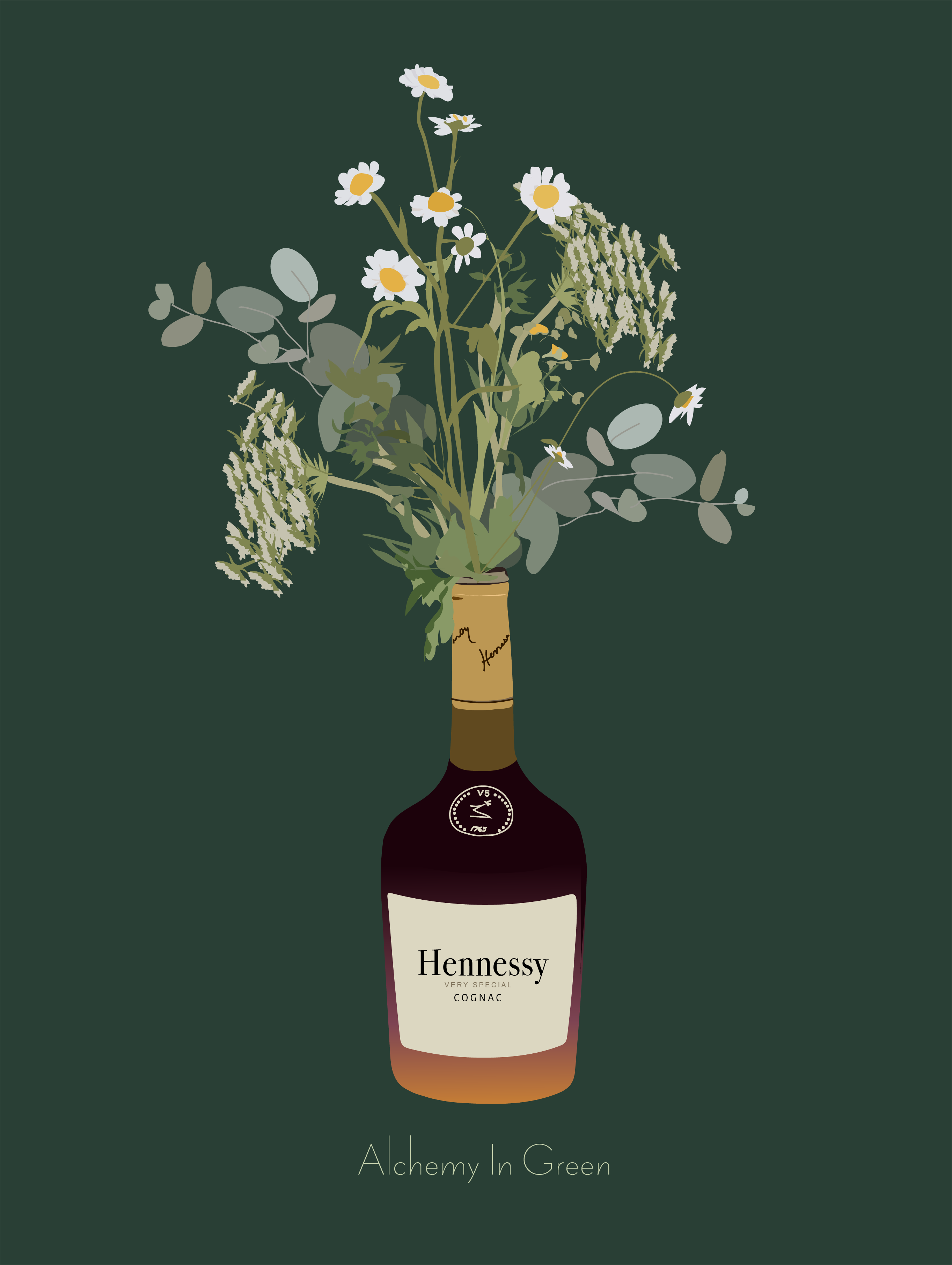 Bouquet A Bottle Of Hennessy Flower Illustration Graphic Art Art