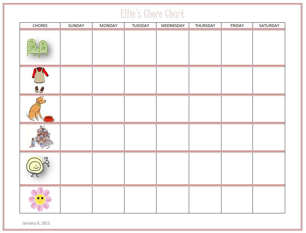 Free Online Kids Chore Chart - Teach Kids about Work and Money