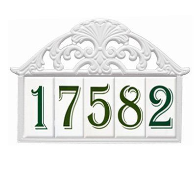 """2X4 Filigree Frame White - 5 Numbers by White Hall. $90.00. 2X4 Filigree Frame White - 5 Numbers. 2X4 Filigree Frame White - 5 Numbers  ? SKU#44253 ? Color: White ? Size: Up to fill five 4"""" tall numbers"""