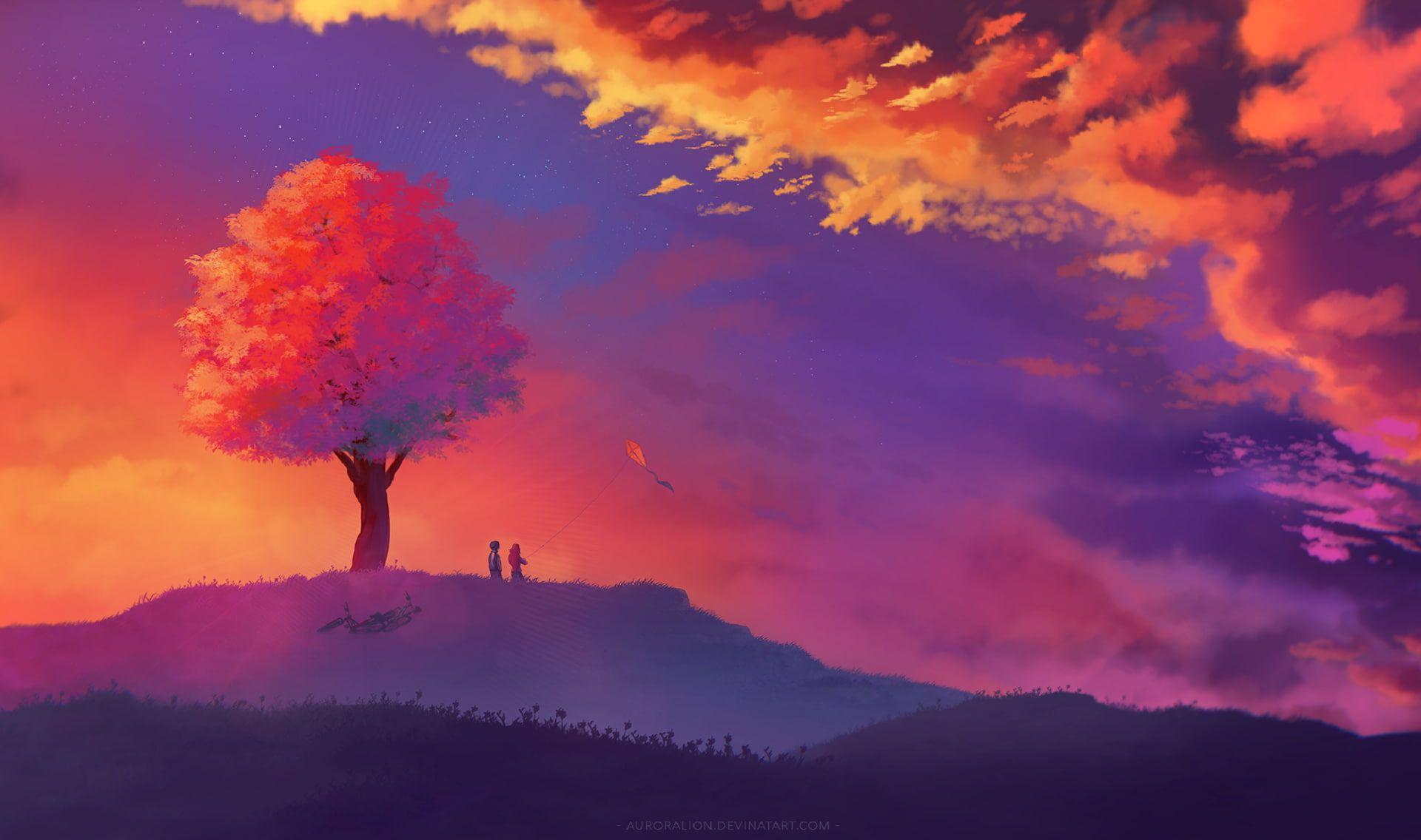 #illustration #landscape tree bark #nature fantasy art #sunset #1080P #wallpaper #hdwallpaper #desktop
