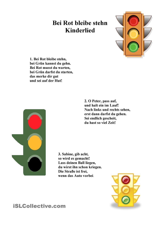 Kinderlied/Gedicht/Farben/Verkehr | Kinderlieder, Gedicht und Farben