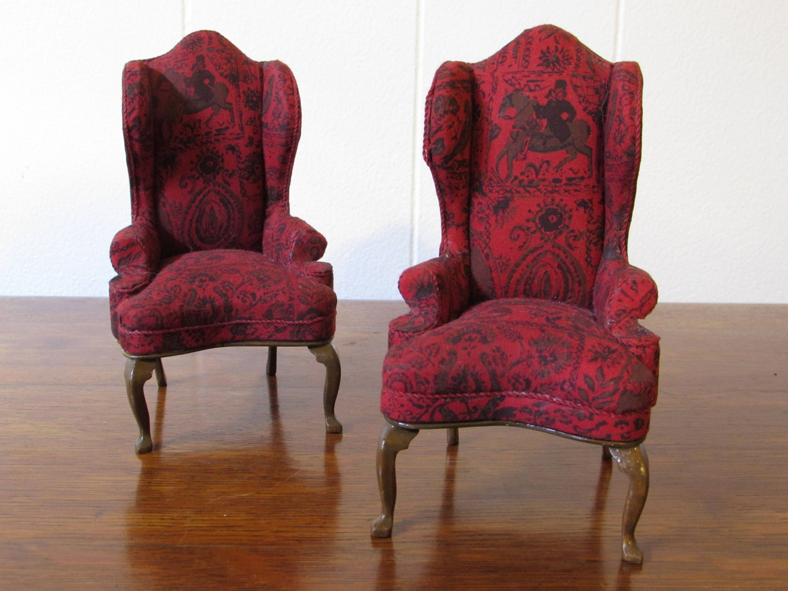 Vintage Dollhouse Furniture Wingback Chair Set, Doll House
