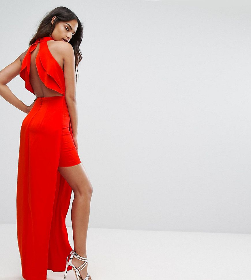 Bariano high neck maxi dress with open back detail red products