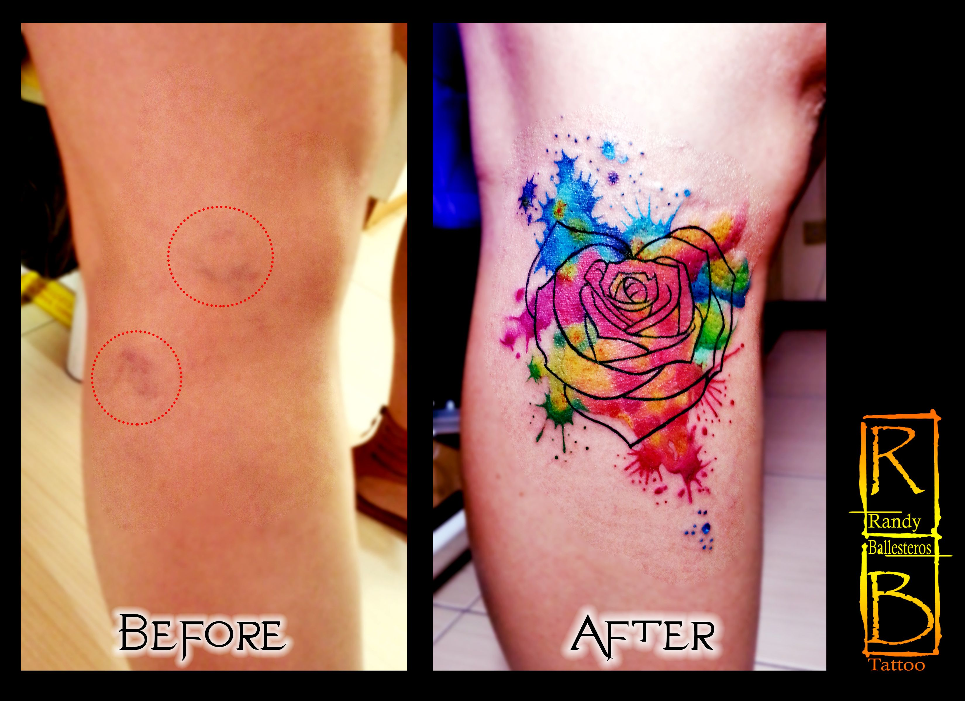 Varicose Vein Cover Up Watercolor Tattoo Cover Tattoo Cover Up