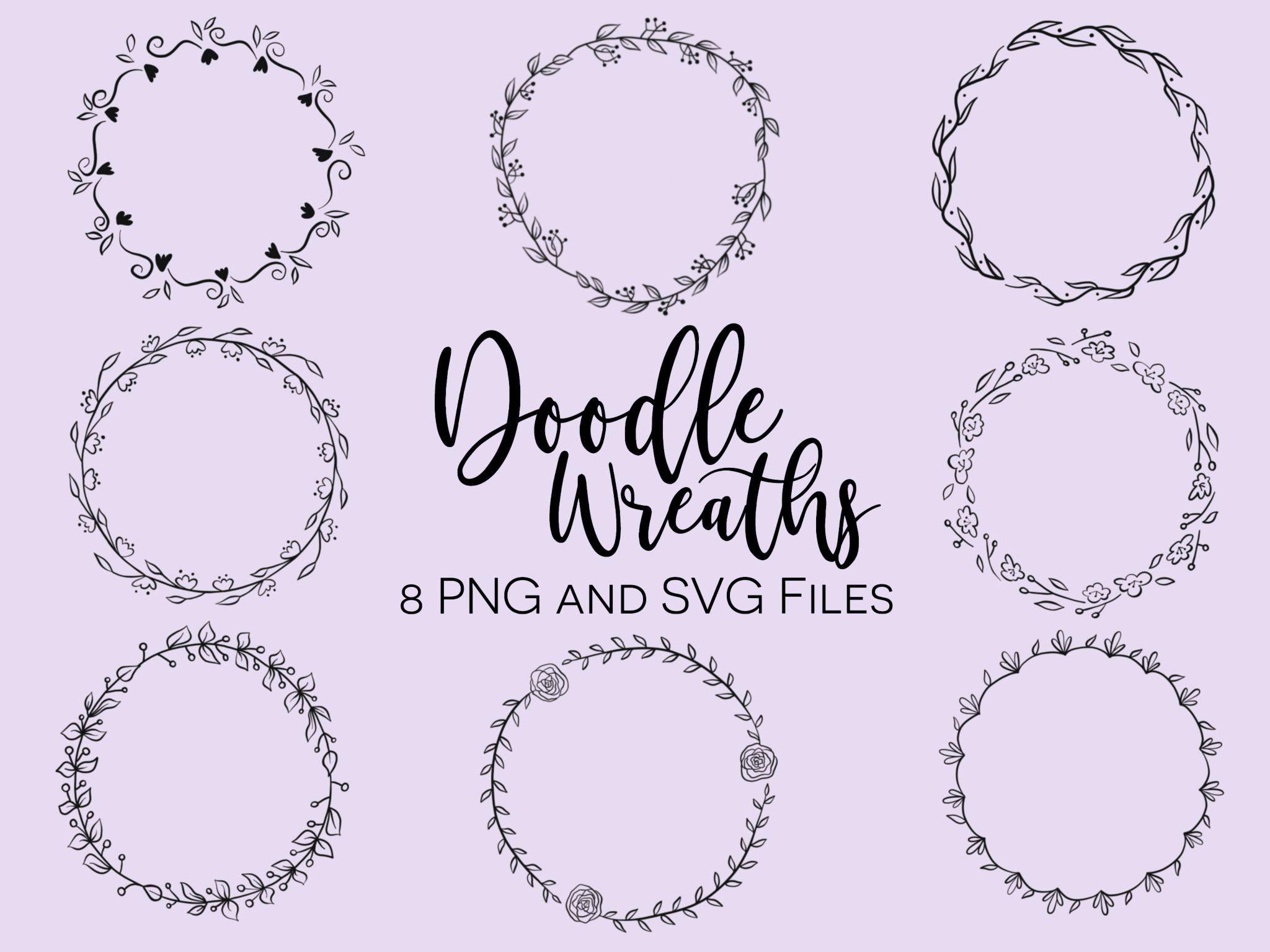 Photo of FLORAL WREATHS, hand-drawn wreaths, doodle clipart, floral wreaths, rustic, drawn wreaths, png, svg, vector wreaths, wedding, minimal