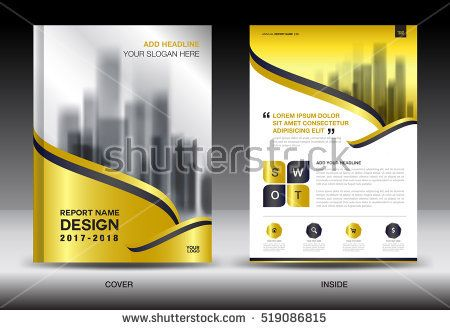 Annual report brochure flyer template, gold cover design, business - advertisement flyer template