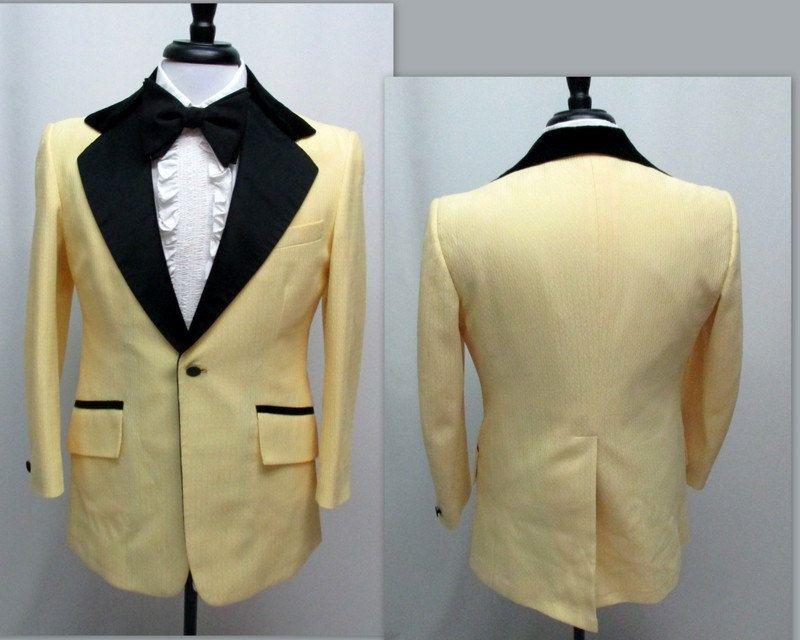 Vintage 70s Yellow and Black Tuxedo Dinner Jacket, 39S Tuxedo Jacket ...