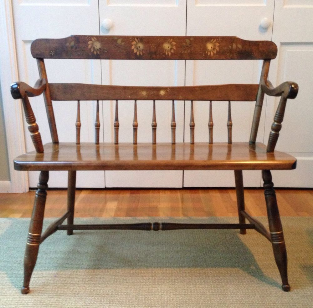 S Bent Bros Colonial Deacons Bench With Stenciling, Solid Maple Made In US  Brown #