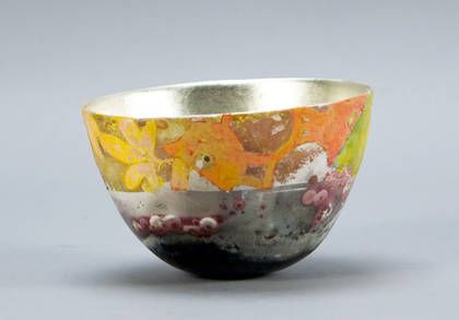 Bennett Bean Pit Fired Painted And Gilded Earthenware