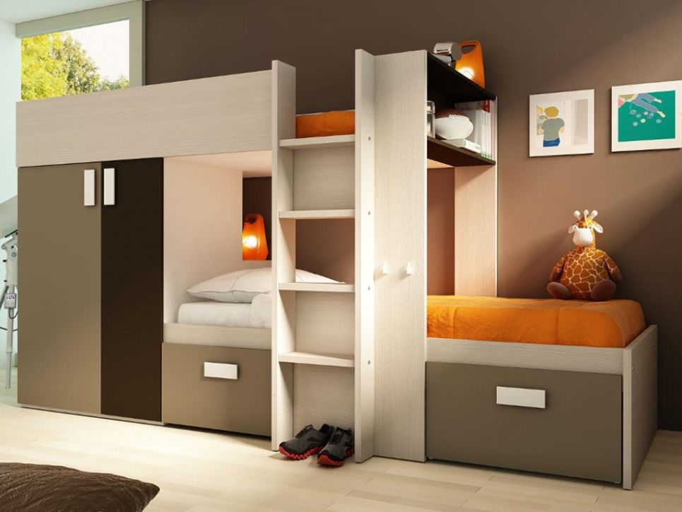 kinderbett hochbett etagenbett julien 2x90x190cm wei braun kinderzimmer f r 2 mit viel. Black Bedroom Furniture Sets. Home Design Ideas