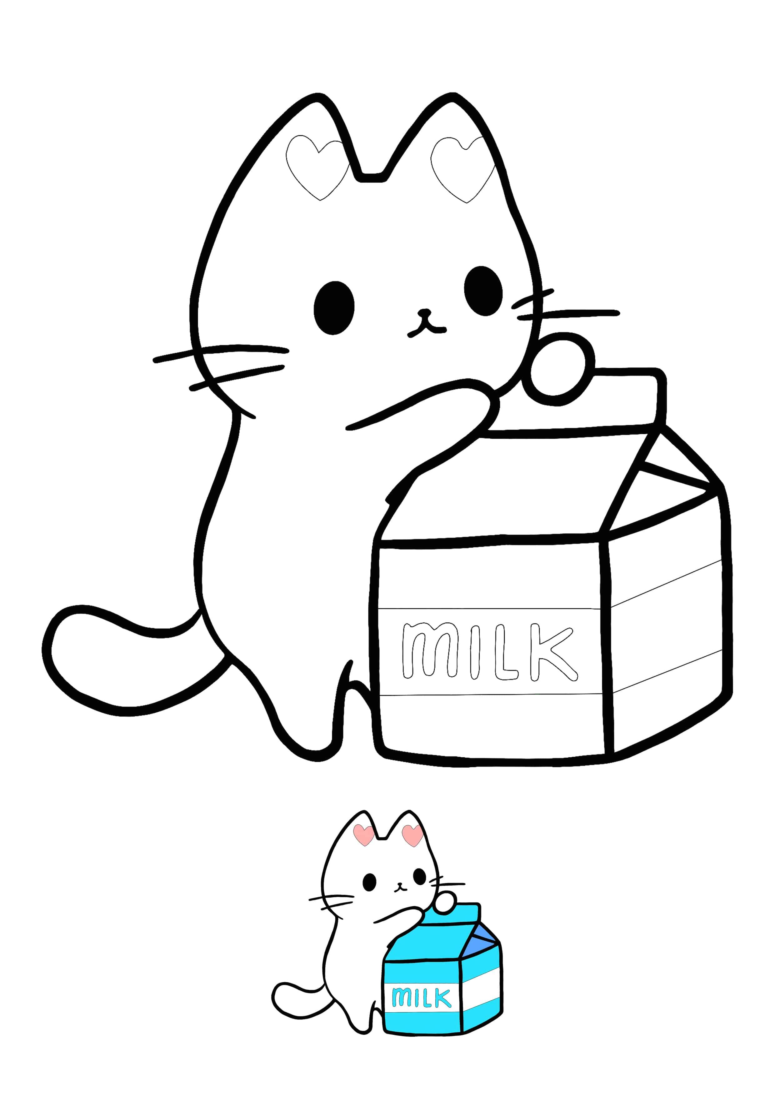 Kawaii Kitten With Milk Packet Coloring Page Hello Kitty Colouring Pages Giraffe Coloring Pages Kids Printable Coloring Pages