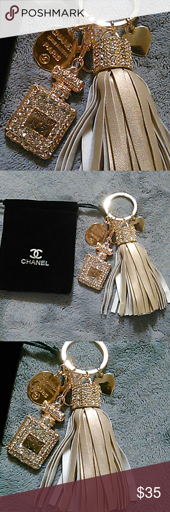 Beautiful Gold Keychain This keychain has 4 charms. Please view ALL photos. Accessories Key & Card Holders