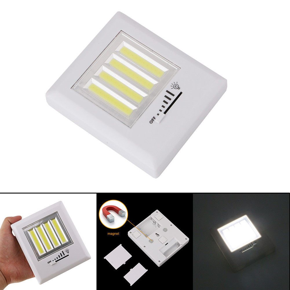 Cob led switch wall light dimmable wireless closet night light with