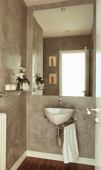 Con paredes en estuco gris decoracion ba os pintura de for Bano de pared de concreto encerado