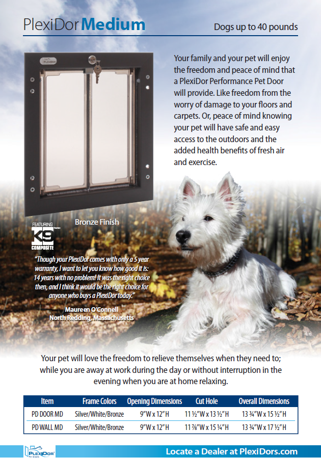 Our Medium Size Plexidor Dog Door Is Perfect For Dogs Up To 40 Lbs