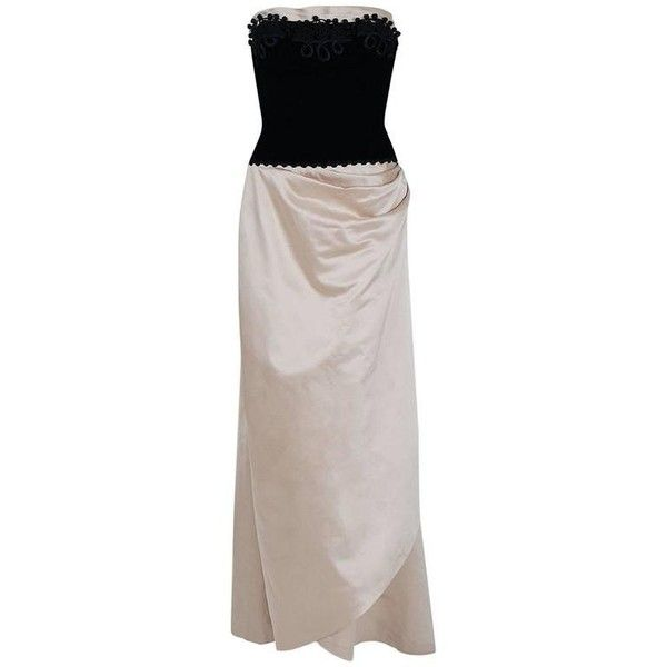 Preowned 1950\'s Howard Shoup Couture Black Velvet & Ivory Satin ...