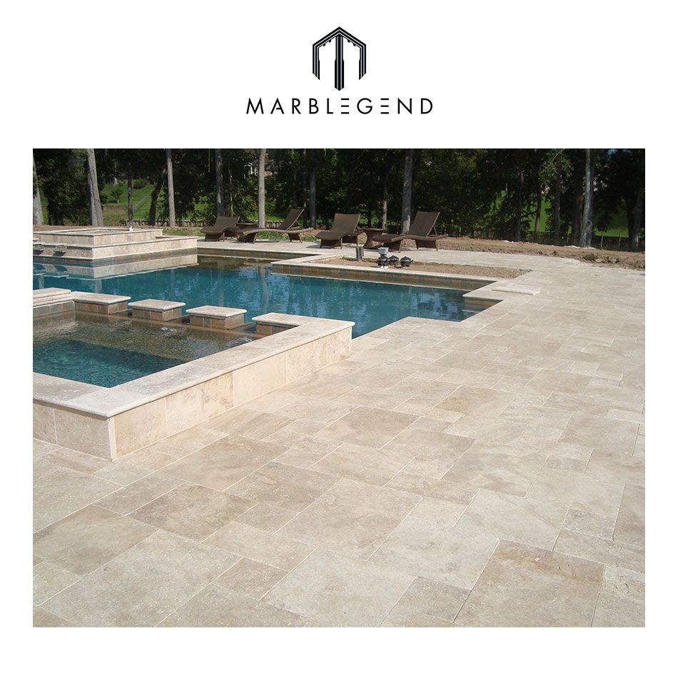 Premium Select French Pattern Ivory Tumbled Travertine Pavers For