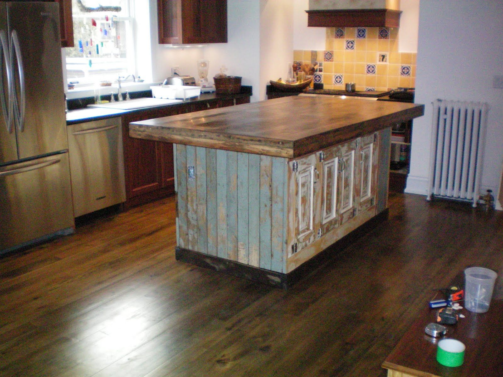 kitchen island from salvaged doors. not sure the hubster would go
