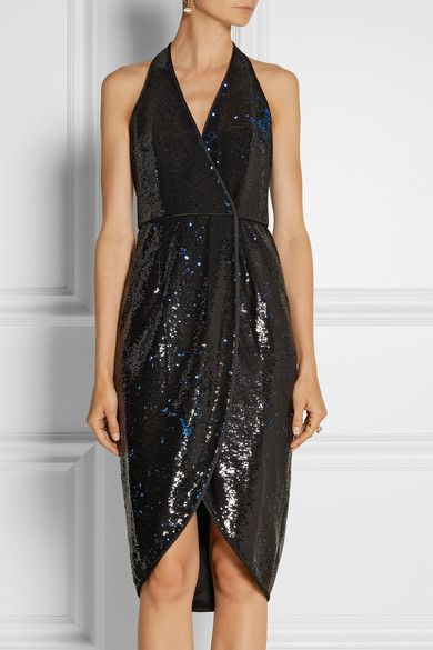 62b1ee9a Halston Heritage Satin-trimmed sequined wrap dress - Fully embellished with  black and blue sequins, Halston Heritage's wrap dress is inspired by the  glamor ...