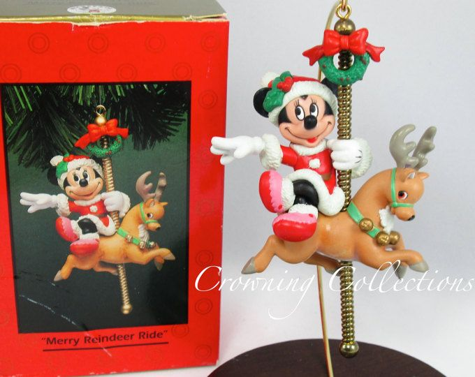 Enesco Merry Reindeer Ride Minnie Mouse on a Carousel Disney - christmas carousel decoration