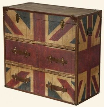 3ce81f1f1a Old Vintage Union Jack Trunk Chest eclectic dressers chests and bedroom  armoires