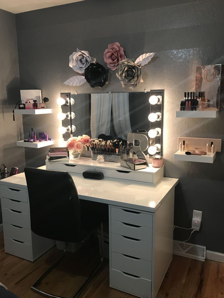 Photo of Vanity Beauty Room Ikea Alex Make-up Room Paper Rose Decor # Bedroom # possible … – Nadine Blog – home accessories