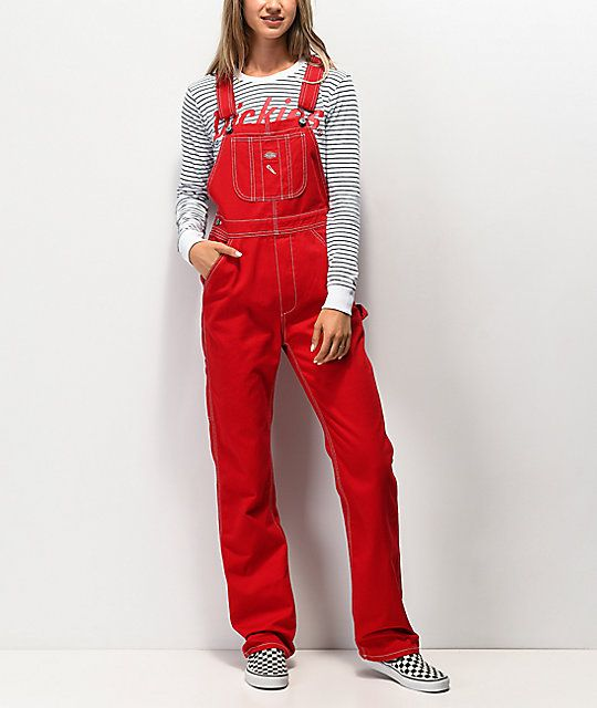 dickies twill red overalls zumiez in 2020 red overalls on dickies coveralls id=43752