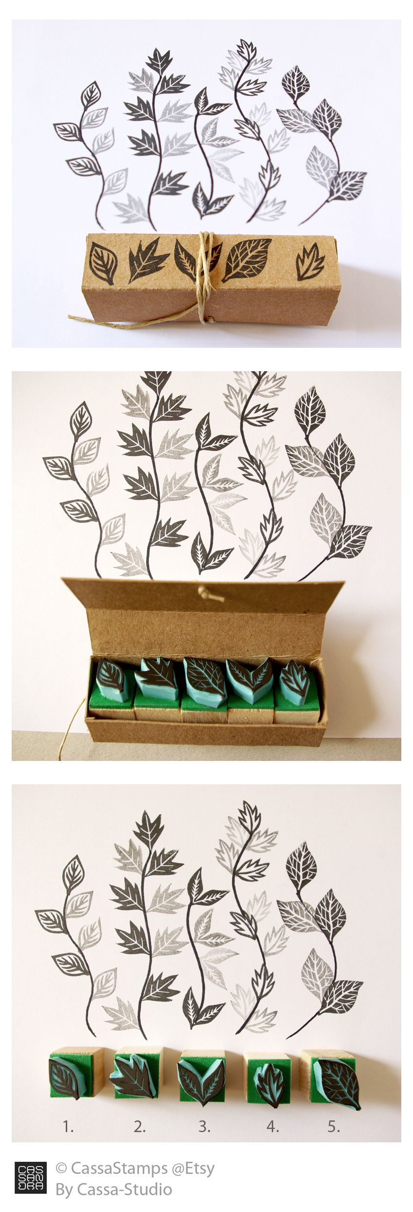 miniature rubber stamps of leaves by cassastamps etsy rubber