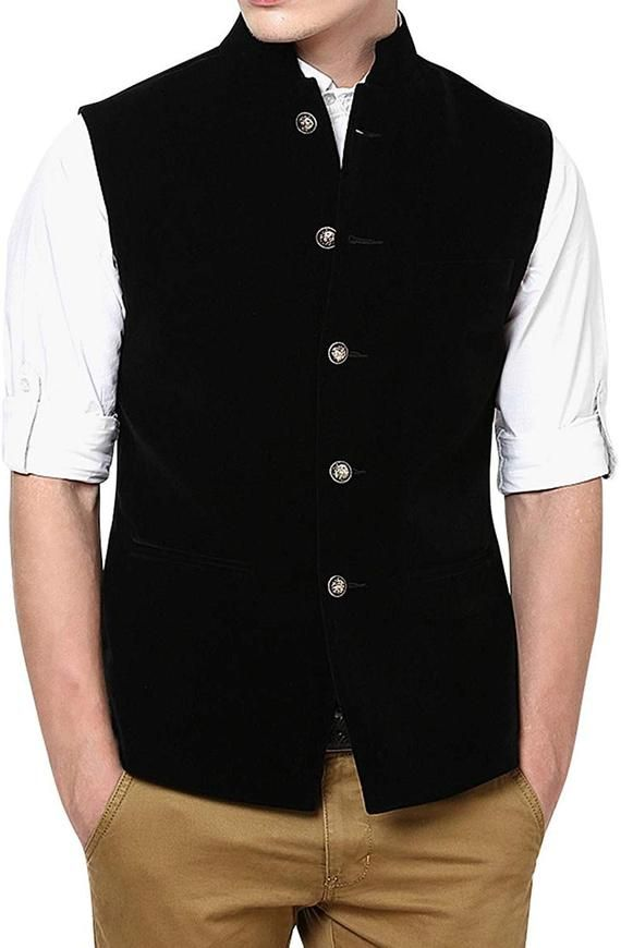 3cff55815 Handmade Mens Black Velvet Nehru Jacket Men s Waistcoat in 2019 ...