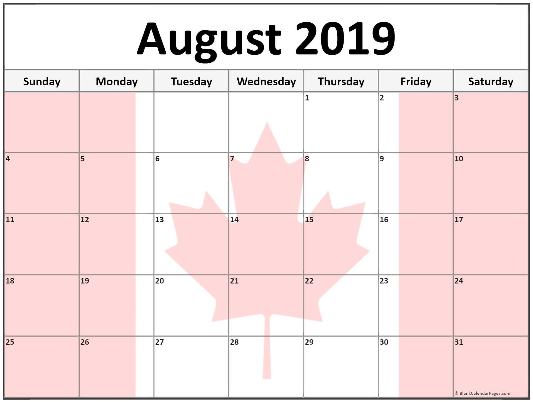 August 2019 Calendar In Pdf Word Excel Printable Template With