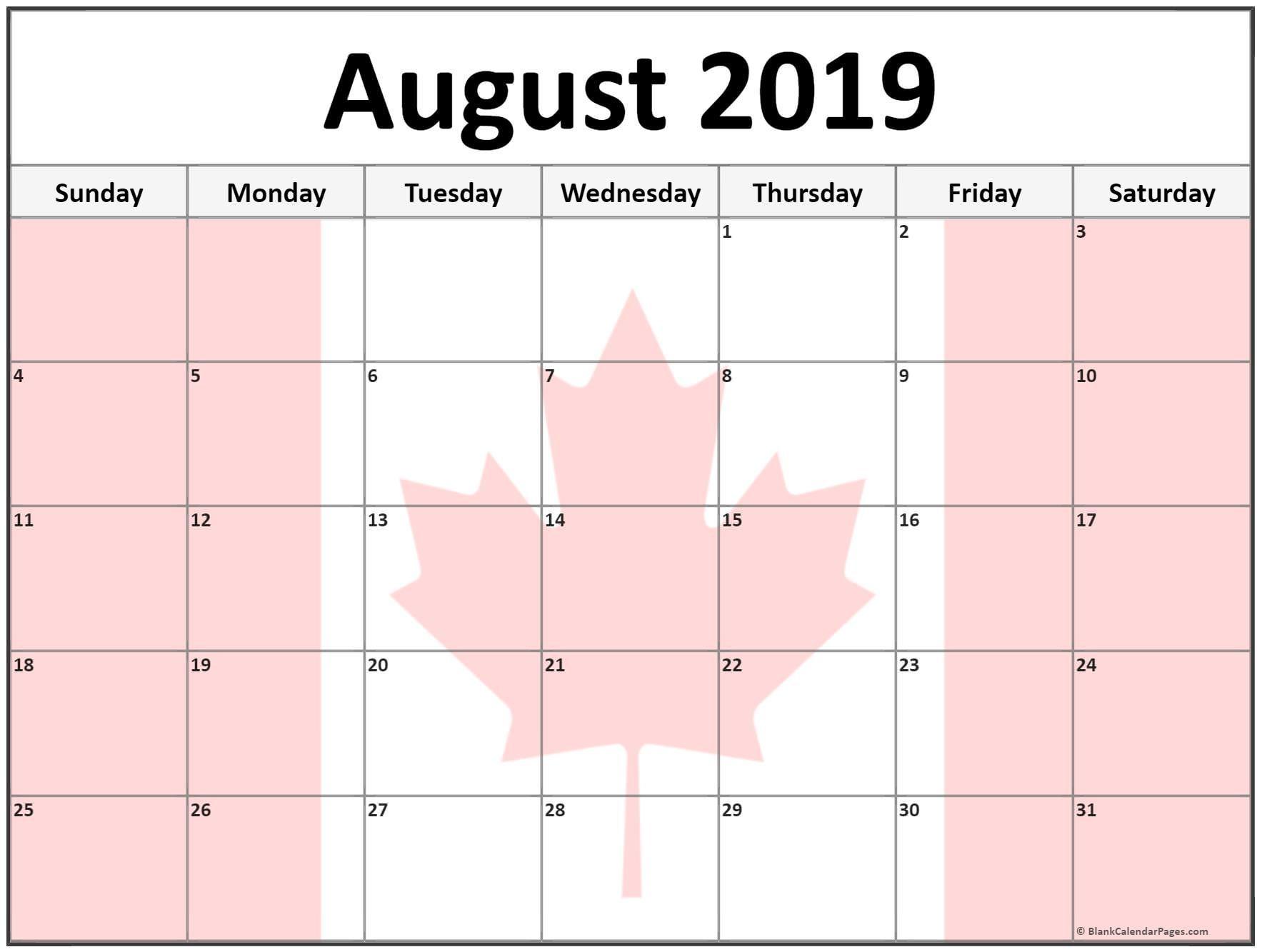 August 2019 Calendar Canada August2019 AugustCalendar